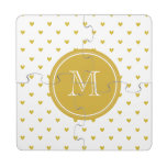 Gold Glitter Hearts with Monogram Puzzle Coaster