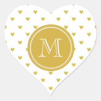 Gold Glitter Hearts with Monogram Heart Sticker