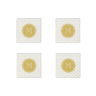 Gold Glitter Hearts with Monogram Stone Magnet