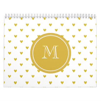 Gold Glitter Hearts with Monogram Wall Calendars