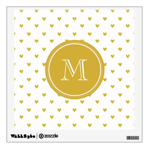 Gold Glitter Hearts with Monogram Room Graphic