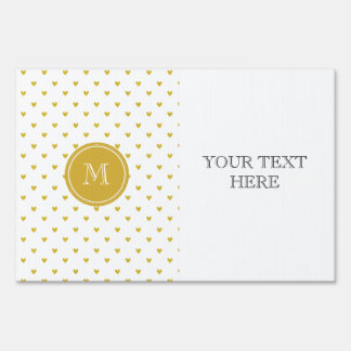 Gold Glitter Hearts with Monogram Lawn Signs