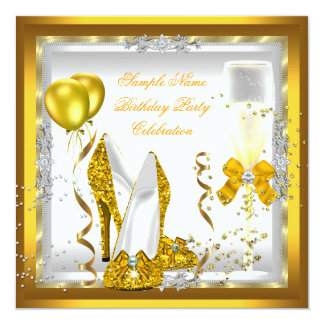 Gold Glitter Heels White Yellow Birthday Party Card