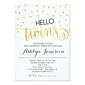 Gold Glitter Hello Twins Baby Shower Invitation