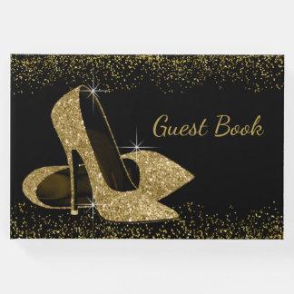 Gold Glitter High Heel Shoe Guest Book