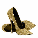 "Gold Glitter High Heel Shoes Cutout<br><div class=""desc"">Elegant gold glitter high heel shoe photo sculpture. You can choose your size,  quantity and product type by choosing the customize it button to begin.</div>"