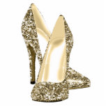 "Gold Glitter High Heel Shoes Statuette<br><div class=""desc"">Elegant gold glitter high heel shoe photo sculpture. You can choose your style, size, quantity and product type by choosing the customize it button to begin. Please note - all of the designs you will find on Zazzle are printed graphics with no actual glitter, jewels, bows, raised, embossed, or added...</div>"