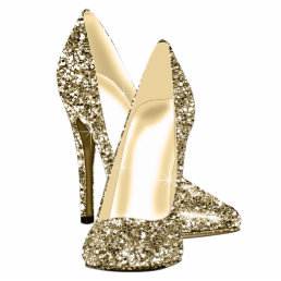 Gold Glitter High Heel Shoes Statuette
