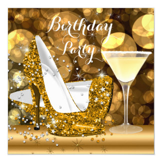 Gold Glitter High Heels Cocktail Birthday Party 5.25x5.25 Square Paper Invitation Card