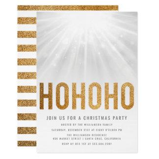 Gold Glitter HO HO HO Christmas Party Invitations
