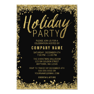 Gold Glitter Holiday Party Card at Zazzle