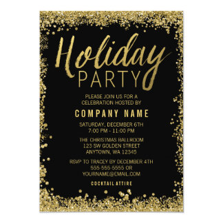 Gold Glitter Holiday Party Card