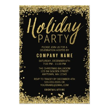 Professional Business Gold Glitter Holiday Party Card