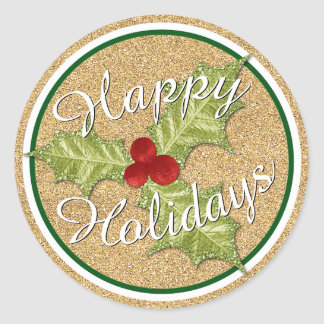 Gold Glitter Holiday Season Holly Leaves Pattern Classic Round Sticker