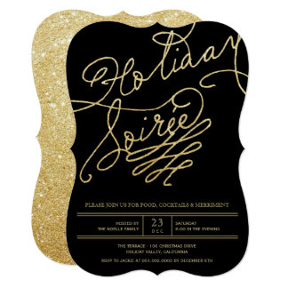 Gold Glitter Holiday Soiree Christmas Party Invite