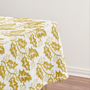 Genial Gold Glitter Holly Berry Trendy Christmas Holiday Tablecloth