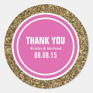 Gold Glitter Hot Pink Custom Thank You Label
