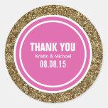 Gold Glitter Hot Pink Custom Thank You Label Classic Round Sticker