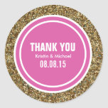 Gold Glitter Hot Pink Custom Thank You Label Classic Round Sticker