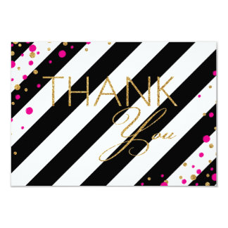 Gold Glitter Hot Pink Sprinkles Stripe Thank You Card