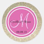 Gold Glitter & Hot Pink Wedding Monogram Classic Round Sticker