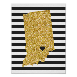 Gold Glitter Indiana State Black and White Stripes Poster