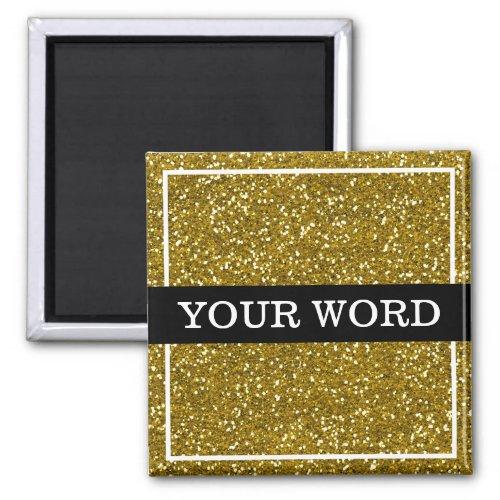 Gold Glitter Inspirational One Word Magnet