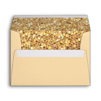 Gold Glitter Invitation Envelope