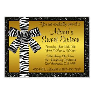 Gold Glitter Invite With Zebra Print Bow