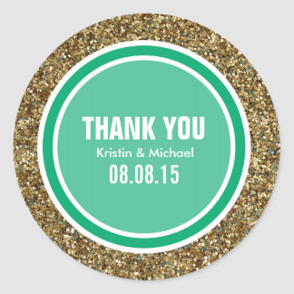Gold Glitter & Jade Green Thank You Label Classic Round Sticker