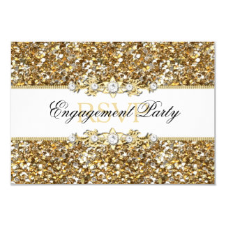 Gold Glitter & Jewel Engagement Party RSVP Card