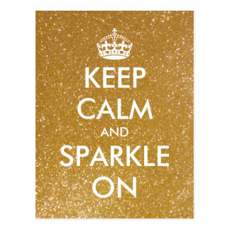 Gold glitter Keep calm and sparkle on postcards