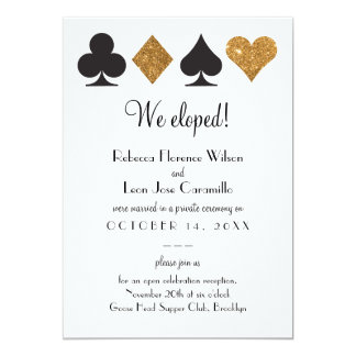 Gold Glitter Las Vegas Elopement Announcment Card
