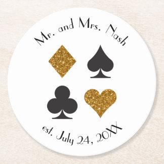 Gold Glitter Las Vegas Wedding CustomDrink Coaster