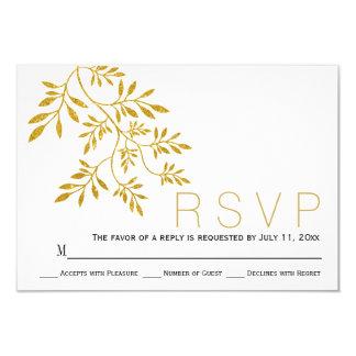 Gold glitter leaves branch modern wedding RSVP Card