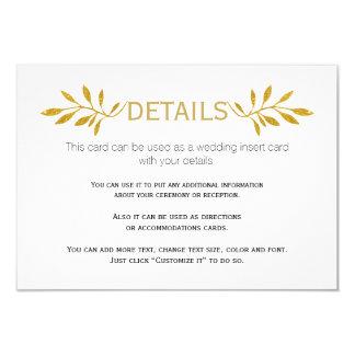 Gold glitter leaves pattern wedding insert card