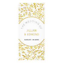 Gold glitter leaves pattern wedding program