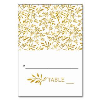 Gold glitter leaves wedding folded escort card