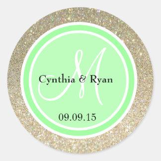 Gold Glitter & Light Lime Green Wedding Monogram Classic Round Sticker