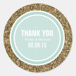 Gold Glitter & Light Mint Thank You Label Classic Round Sticker