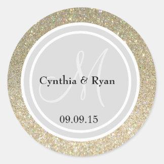 Gold Glitter & Light Silver Wedding Monogram Seal