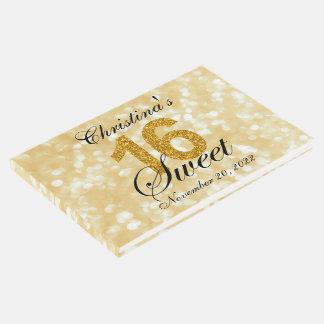 Gold Glitter Lights Sweet 16 Custom Guest Book