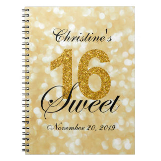 Gold Glitter Lights Sweet 16 Custom Guest Book