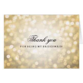 Gold Glitter Lights Thank You Bridesmaid Card