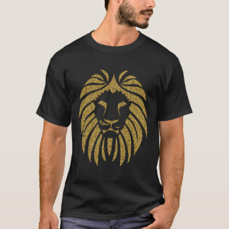 Gold Glitter Lion Tribal Silhouette T-Shirt