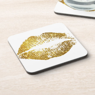 Gold Glitter Lips #2 Coaster