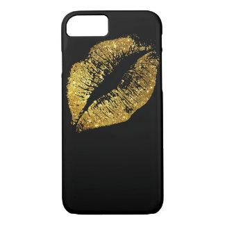 Gold Glitter Lips #2 iPhone 7 Case