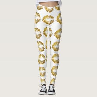 Gold Glitter Lips #2 Leggings