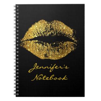 Gold Glitter Lips #3 Notebook