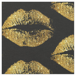Gold Glitter Lips Fabric